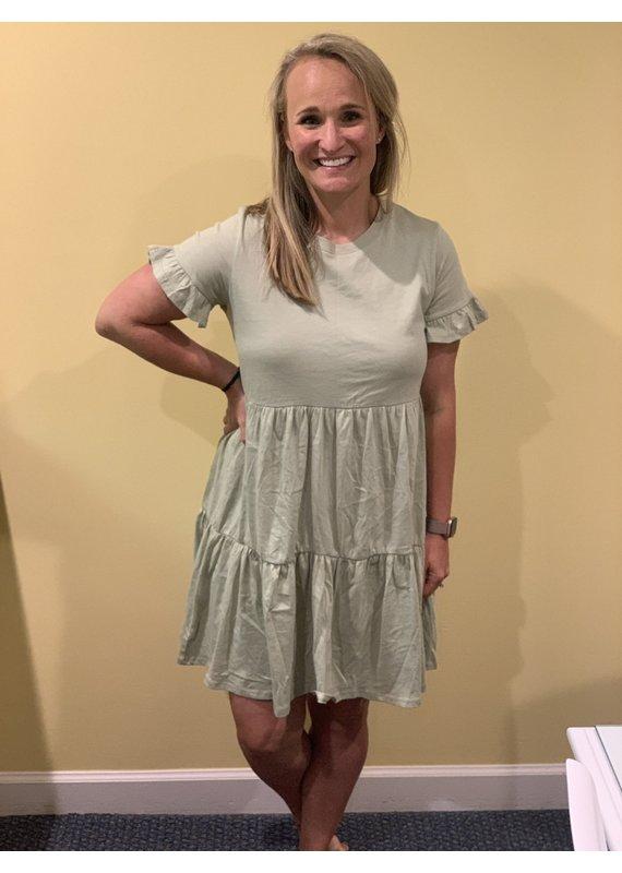 PODOS Ruffle Sleeve Tiered Dress