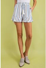 PODOS Multi Stripe Ruffle Hem Shorts