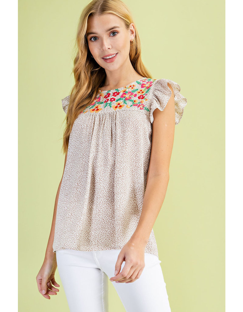PODOS Embroidered Ruffle Top