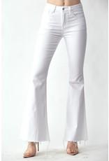 PODOS Mid Rise Raw Hem Flare Jeans
