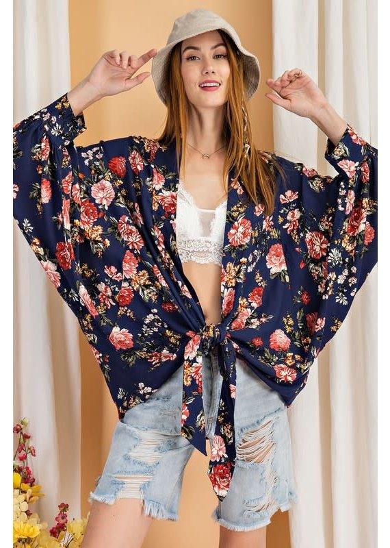 PODOS Tie Front Kimono