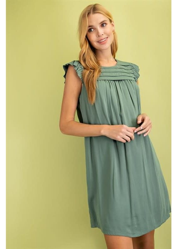 PODOS Sweet Pleats Ruffle Sleeve Dress