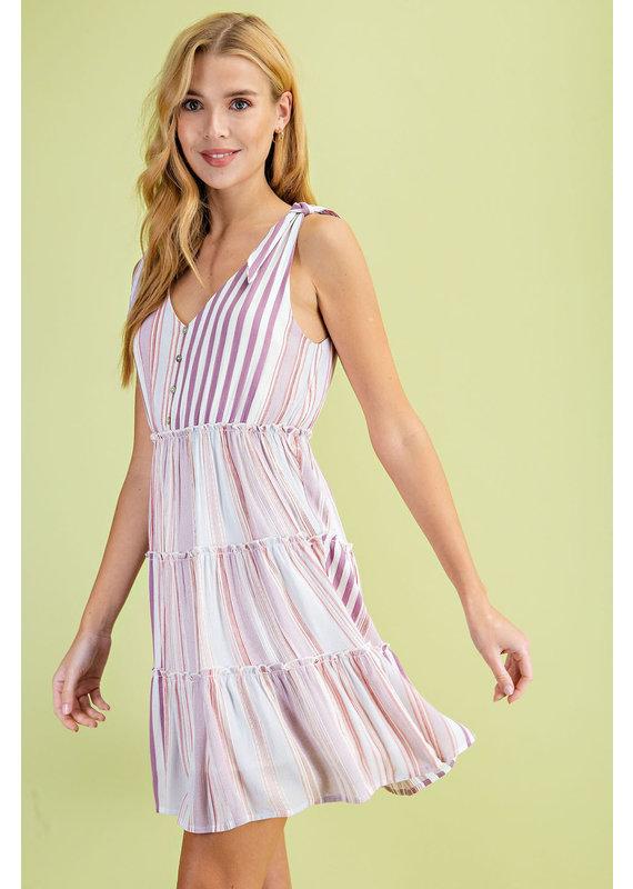 PODOS Multi Stripe Tiered Dress