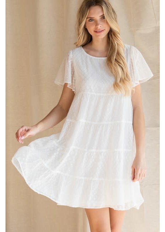 PODOS Swiss Dot Tiered Baby Doll Dress