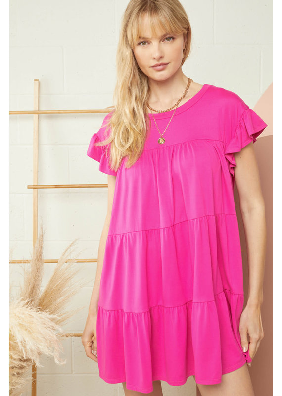 PODOS Ruffle Detail Tiered Dress