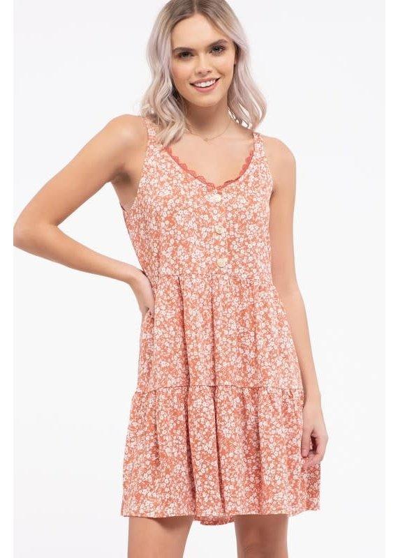 PODOS Lace Trim Sleeveless Dress