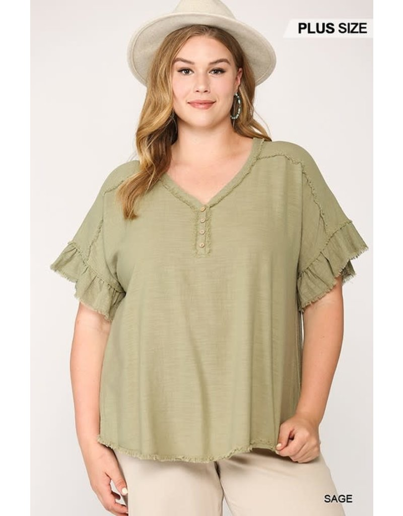 PODOS Frayed Washed Linen Top PLUS
