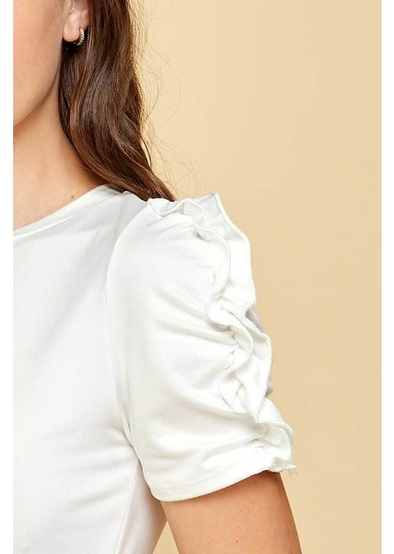 PODOS Ruched Sleeve Knit Top