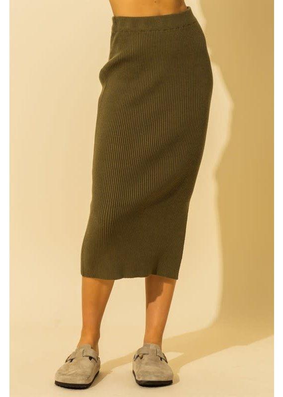PODOS Sweater Knit Midi Skirt