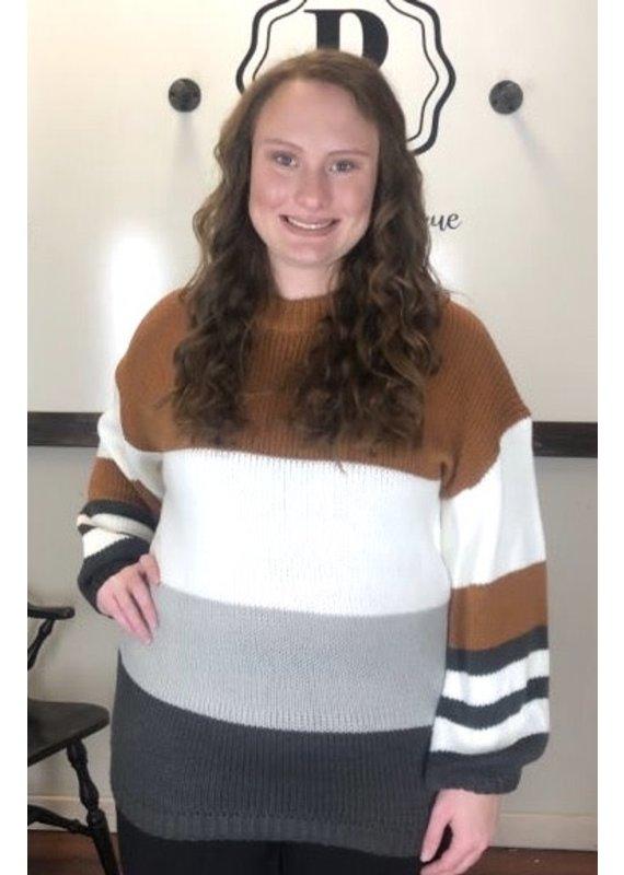 PODOS Mock Neck Color Block Sweater
