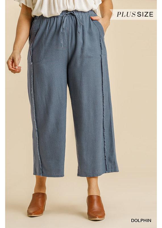 PODOS Linen Blend Wide Leg Pant PLUS