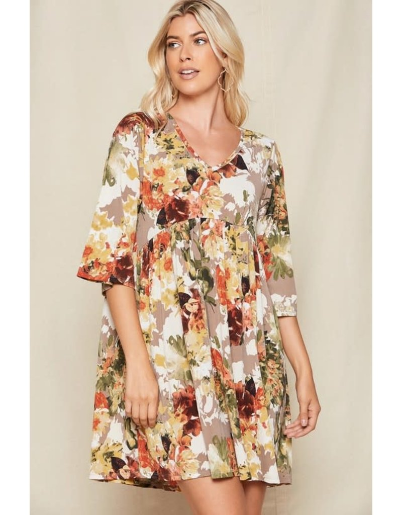 PODOS Floral 3/4 Sleeve Babydoll Dress