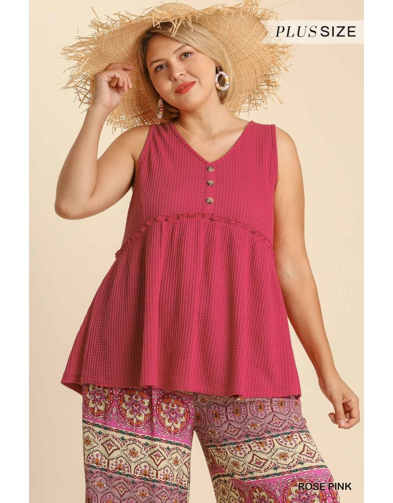 PODOS Button Front Waffle Knit Top PLUS