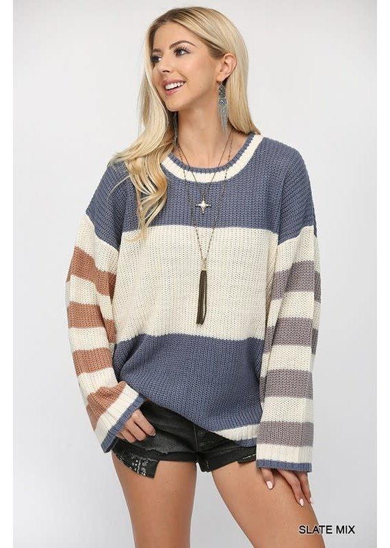 PODOS Stripe LS Sweater Top