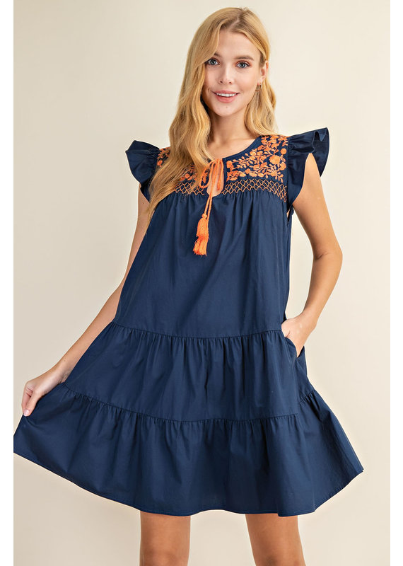 L Love Floral Embroidered Tiered Dress