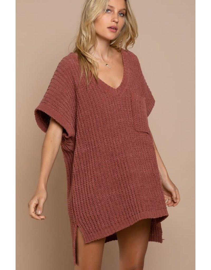 PODOS Oversize Hi Low Sweater