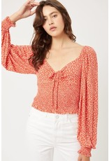 PODOS Sweetheart LS Smocked Top