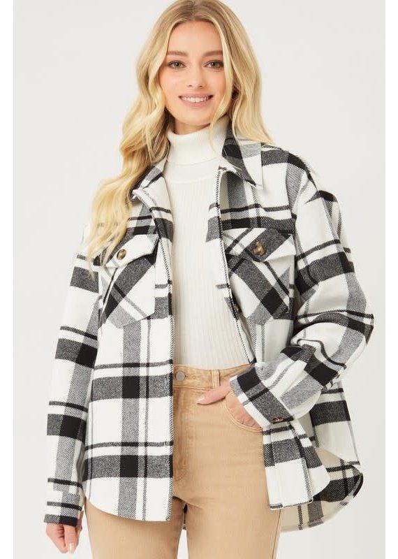 PODOS Plaid Long Line Jacket