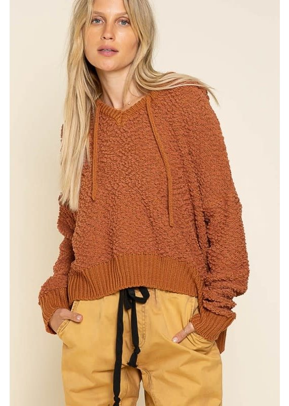 PODOS Textured Hooded Sweater