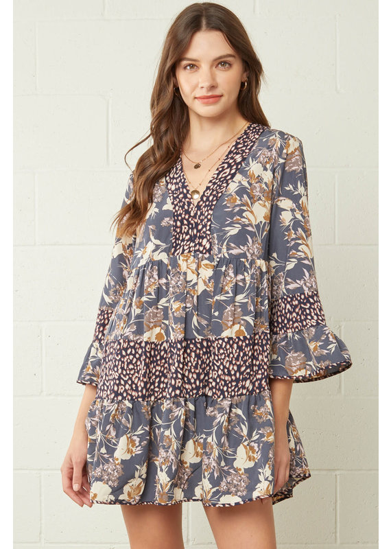 PODOS Floral  V-neck Bell Sleeve Dress