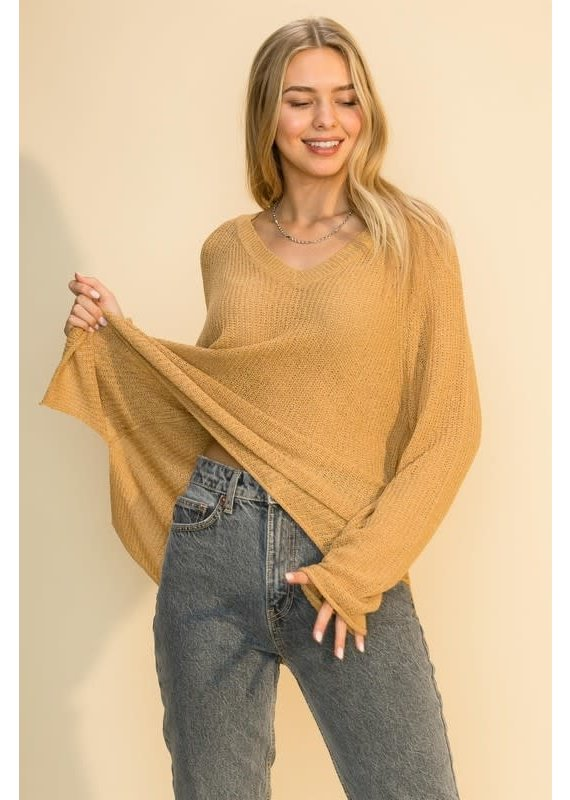 PODOS Raglan Sleeve Loose Sweater