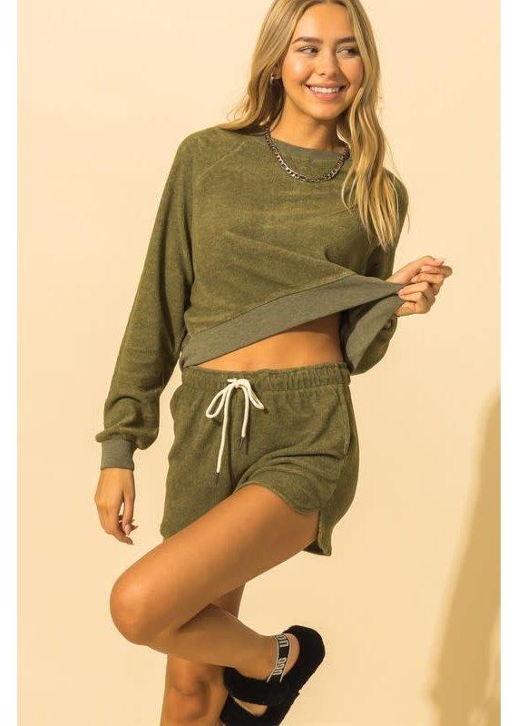 PODOS Crop Sweatshirt/Short Set