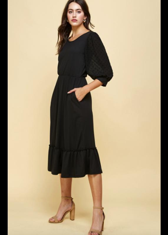 PODOS Ruffle Hem Midi Dress