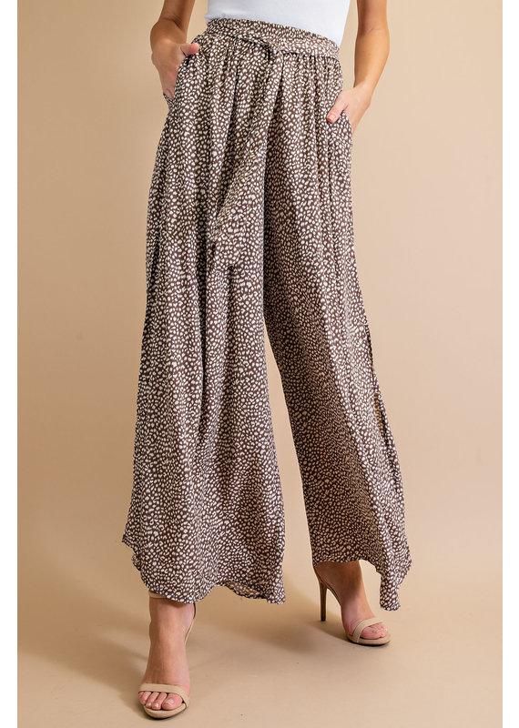 PODOS Animal Print Wide Leg Pant
