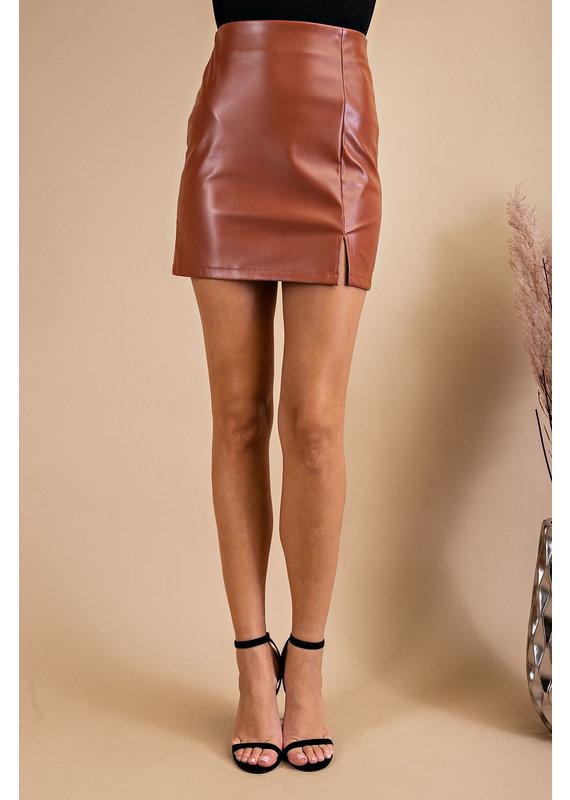 PODOS Faux Leather Mini Skirt