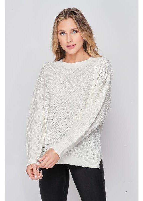 LS Waffle Knit Sweater