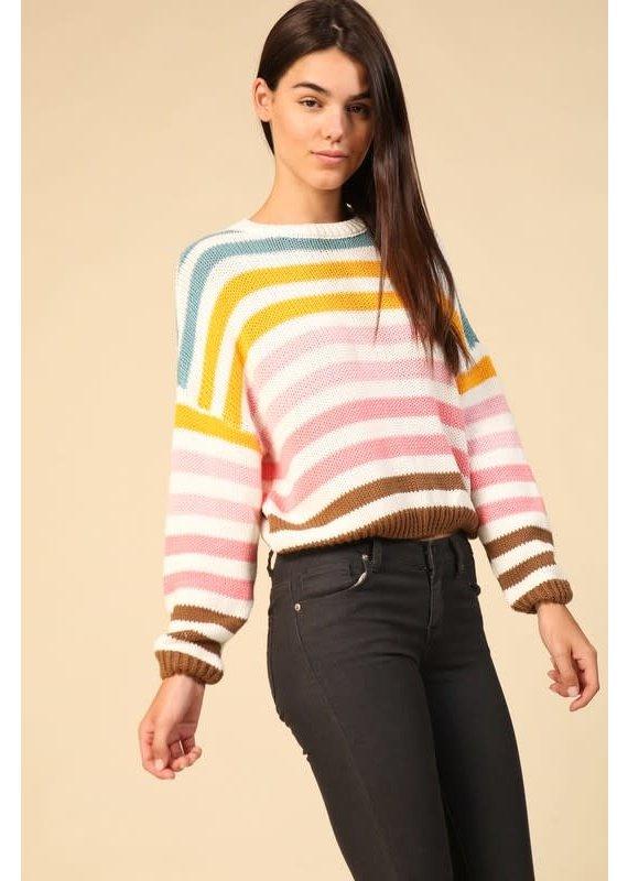 Lumiere Multi Color Stripe Crop Sweater