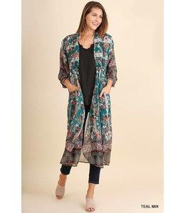 Umgee Long Floral Print Kimono