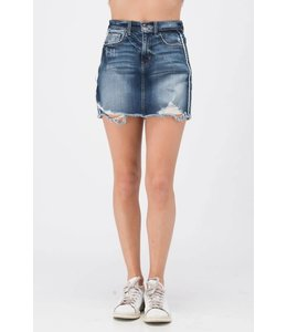 Sneak Peek Denim Frayed Denim Skirt