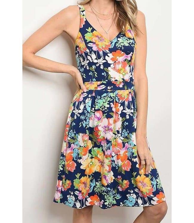 11 Degrees Floral V Neck Flare Dress