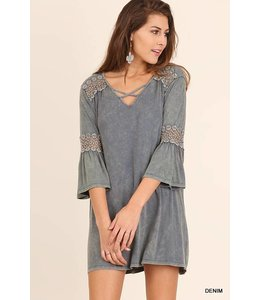 Umgee Washed 3/4 Sleeve Dress