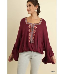Umgee Bell Sleeve Embroidery Top