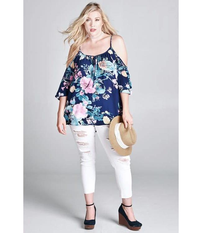 Oddi Plus Floral Bell Sleeve Blouse