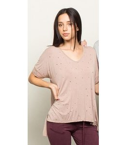 POL Distressed High Low Top