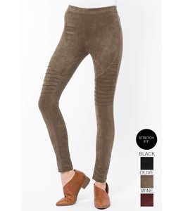 Tea N Rose Pleated Suede Leggings
