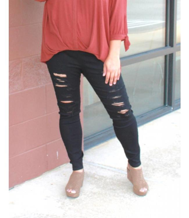Full Figured Fashionista Ripped Pants