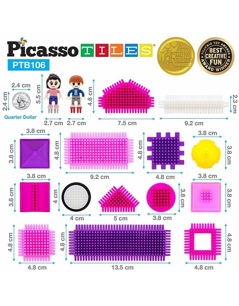 Picasso Tiles Bristle Set Pink - 106 pcs