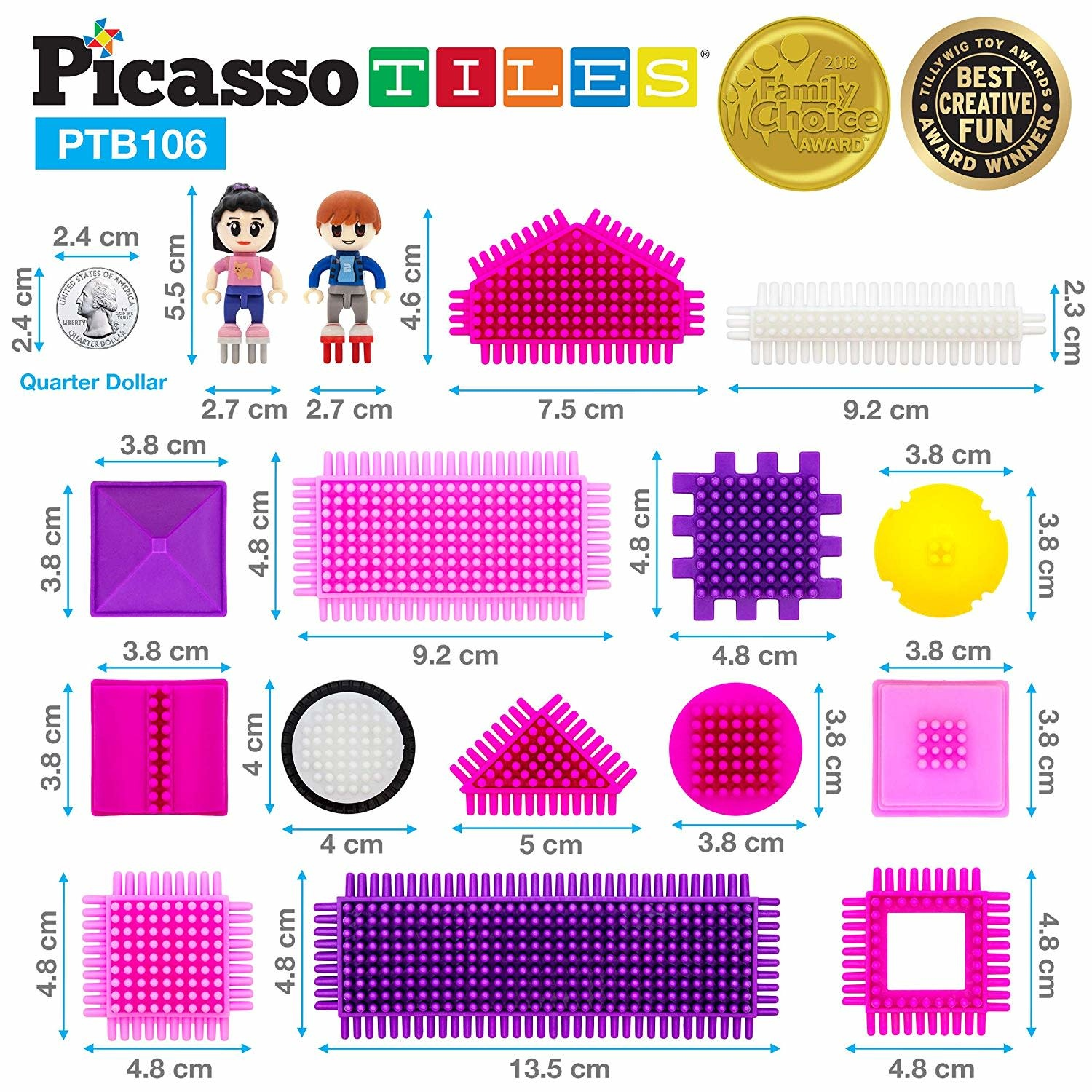Picasso Tiles Bristle Set Pink - 106 pcs