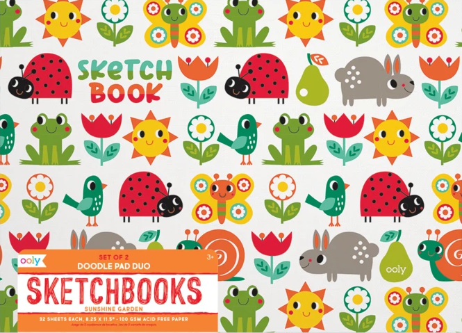 Sunshine Garden Sketchbook Set of 2 by Ooly