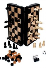 "8"" Magnetic Ebony Wood 3-in-1 Game Set by John Hansen"