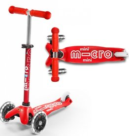 Mini Deluxe Scooter Red w/ LED Wheels by Micro Kickboard