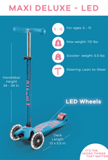 Micro Maxi Deluxe Scooter with LED Wheels - Aqua