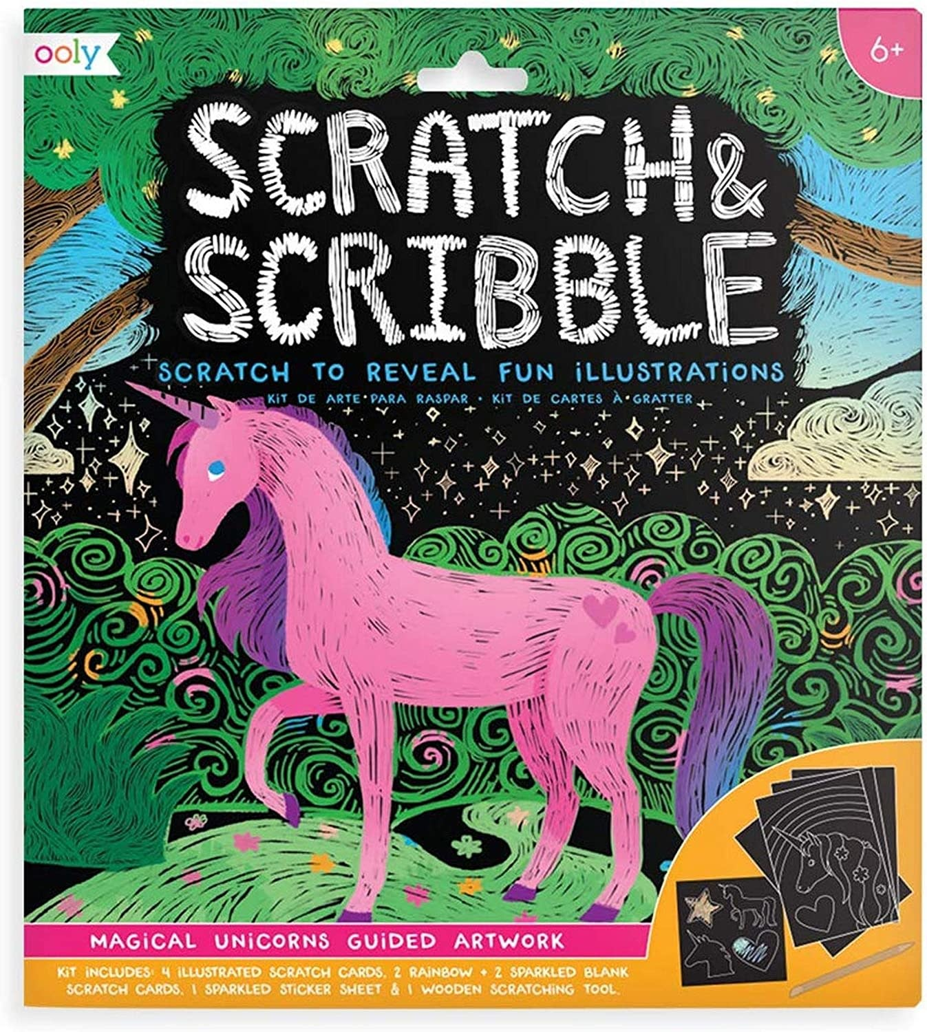 Scratch & Scribble Magical Unicorns Art Kit by Ooly