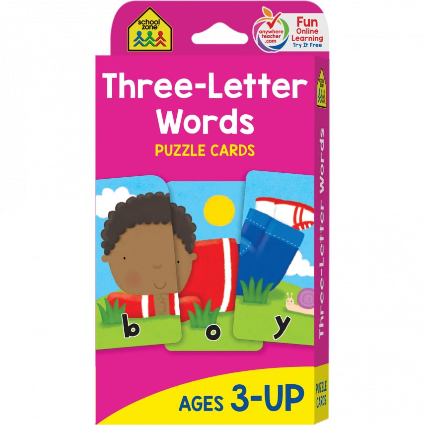 Flash Cards: Three-Letter Words by School Zone