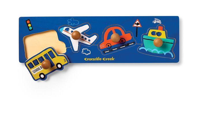 Vehicles 4-pcWood Knob Puzzle by Crocodile Creek