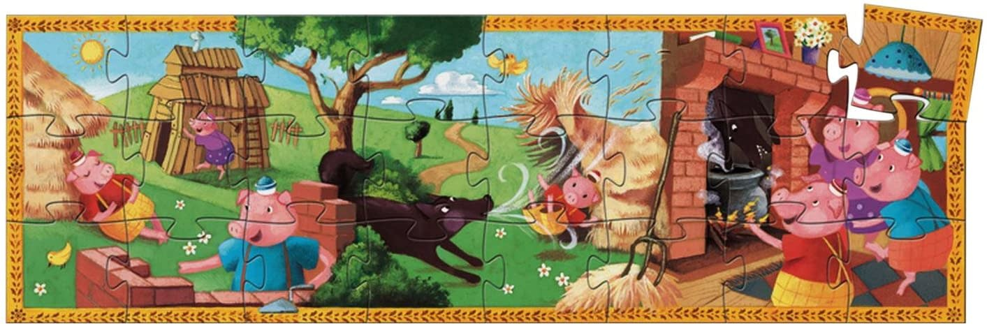 The 3 Little Pigs Silhouette 24-pc Puzzle by Djeco